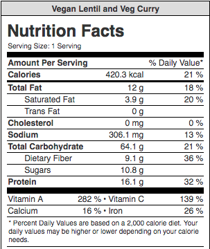 Vegan Lentil and Veg Curry Nutrition Facts